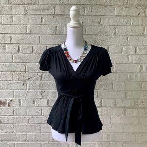 BLK Anthropologie Cotton Tie-waist top
